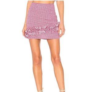 Lovers + Friends Magenta White Gingham Mini Skirt